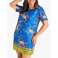shop for Yumi Curves Flower Border Dress, Blue at Shopo