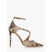 shop for Dune Divaa Leather Cross Strap Court Shoes, Reptile Print at Shopo