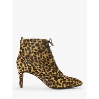 shop for Boden Bardon Lace Up Stiletto Heel Ankle Boots, Leopard at Shopo