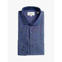 shop for Ted Baker Lemgras Floral Print Cotton Shirt, Blue at Shopo
