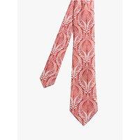 shop for Ted Baker Track Leaf Print Silk Tie, Dark Red at Shopo