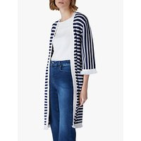 Jaeger Stripe Knit Long Cardigan, Blue/White