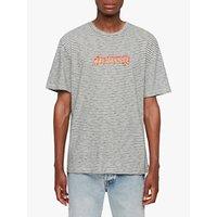 AllSaints Burner Stripe Crew T-Shirt, Chalk/Washed Black