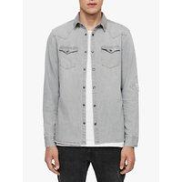shop for AllSaints Giro Denim Shirt, Grey at Shopo