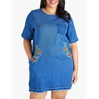 shop for Yumi Curves Frayed Bee Dress, Blue at Shopo