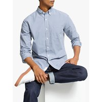 John Lewis and Partners Cotton Poplin Gingham Slim Fit Shirt, Blue