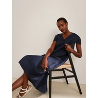 John Lewis and Partners Linen Elliptical Hem Dress, Navy