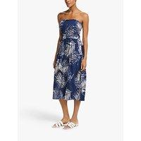 John Lewis & Partners Lanta Palm Bandeau Jersey Midi Dress, Blue