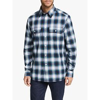 Calvin Klein Cotton Ombre Check Relaxed Fit Shirt, Blue
