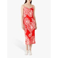 Finery Amela Coral Poppy Print Slip Dress, Orange/Multi