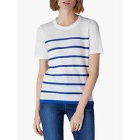 Jaeger Stripe Linen Knit T-Shirt, White/Multi