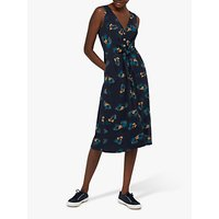 Monsoon Laticia Front Pleat Floral Midi Dress, Navy