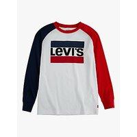Levis Boys Colour Block Long Sleeve T-Shirt, White