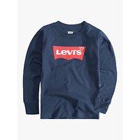 Levis Boys Long Sleeve Bat Logo T-Shirt, Navy