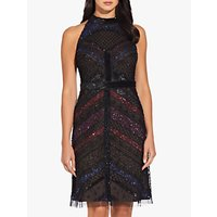 Adrianna Papell Beaded Halterneck Dress, Black/Multi