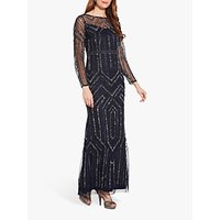 Image of Adrianna Papell Geo Beaded Maxi Dress, Midnight