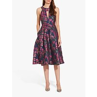 Adrianna Papell Metallic Floral Dress, Fuchsia Multi