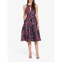 Adrianna Papell Metallic Floral Dress, Fuchsia Multi