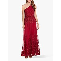 Adrianna Papell Shirred Petal Detail One Shoulder Gown, Dark Scarlet