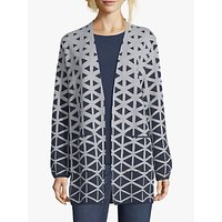 Betty and Co. Graphic Cotton Blend Knit Cardigan, Blue/Cream