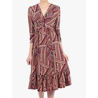 Jolie Moi Twist Front Flare Dress, Taupe Stripe