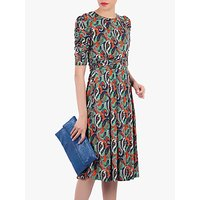 Jolie Moi Boat Neck Half Sleeved Midi Dress, Multi