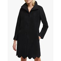 French Connection Carmelita Wool Blend Scallop Hem Coat, Black