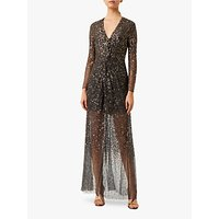 French Connection Emille Embellished Twist Front Maxi Dress, Pewter