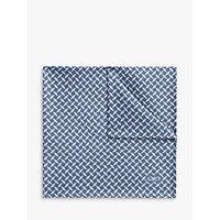 Jaeger Cross Geo Print Silk Cotton Pocket Square, Light Blue