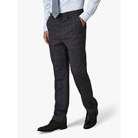 Jaeger Wool Overcheck Regular Fit Suit Trousers, Grey