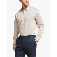 John Lewis and Partners Brushed Melange Cotton Tailored Fit Shirt, Oatmeal