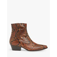shop for L.K.Bennett Choral Snake Print Leather Cowboy Ankle Boots, Honey at Shopo