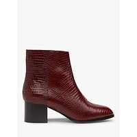 L.K.Bennett Dayna Lizard Effect Leather Ankle Boots, Burgundy