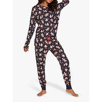 Chelsea Peers Gingerbread Man Print Pyjama Set, Navy/Multi