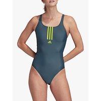 adidas SH3.RO Mid 3-Stripes Swimsuit, Legacy Blue/Semi Solar Slime