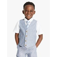John Lewis and Partners Heirloom Collection Ticking Stripe Boys Suit Waistcoat, Blue