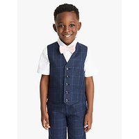 John Lewis and Partners Heirloom Collection Boys Check Waistcoat, Navy