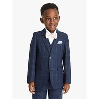 John Lewis and Partners Heirloom Collection Boys Check Linen Suit Jacket, Blue