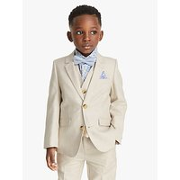 John Lewis and Partners Heirloom Collection Boys Cotton Linen Suit Jacket, Beige