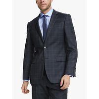 John Lewis and Partners Wool Check Regular Fit Suit Jacket, Blue/Grey