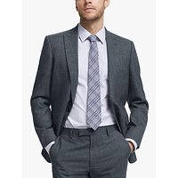 John Lewis and Partners Wool Silk Slub Herringbone Tailored Suit Jacket, Airforce Blue