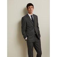 John Lewis and Partners Birdseye Semi Plain Wool Suit Jacket, Charcoal