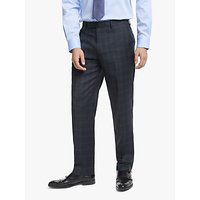 John Lewis and Partners Wool Check Regular Fit Suit Trousers, Blue/Grey