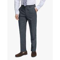 John Lewis and Partners Wool Silk Slub Herringbone Tailored Suit Trousers, Airforce Blue
