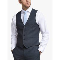 John Lewis and Partners Wool Birdseye Semi Plain Waistcoat, Navy