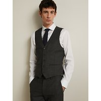 John Lewis and Partners Wool Birdseye Semi Plain Waistcoat, Charcoal