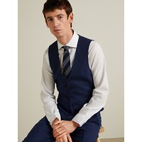 John Lewis and Partners Wool Birdseye Semi Plain Waistcoat, Royal Blue