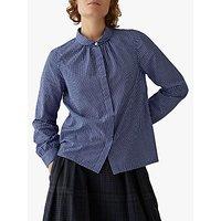 Toast Fine Check Cotton Shirt, Bright Blue/White
