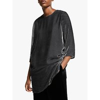 EILEEN FISHER Stripe Velvet Tunic Top, Charcoal
