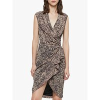 AllSaints Cancity Patch Gathered Dress, Camel Brown